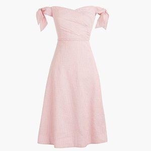 J. CREW Pink Stripe Tie-Shoulder Dress SZ 00P
